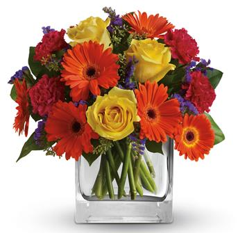Description: Make a splash, Orange gerberas, yellow roses and hot pink carnations are a bold, beautiful gift for any happy occasion.