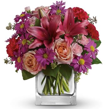 Description: Take a wondrous walk through this enchanted garden of peach roses, pink lilies and purple daisies.