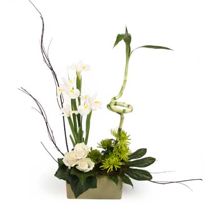 Description: A beautiful arrangement blending classic white with contemporary design.
