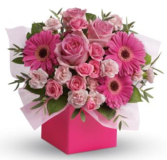 Description: Looking to pamper someone special? Think pink! Hot pink gerbera mix with soft pink roses and mini carnations in this fabulously fun arrangement.