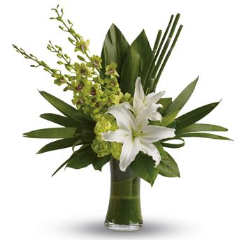Description: The graceful beauty of white lilies and opulent orchids is highlighted with an artistic, emerald-green backdrop of tropical leaves presented in a leaf lined vase.