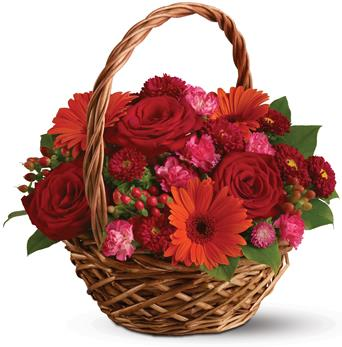 Description: Rich red roses, pretty pink carnations and sunny orange gerberas make this basket a glorious, go-anywhere garden.