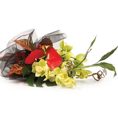 Description: This selection of exotic flowers will brighten up someones day.