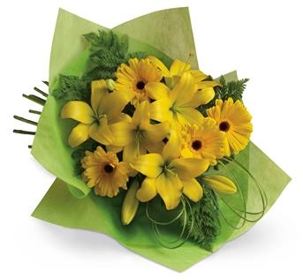 Description: Pure sunshine! Send sunny thoughts to someone special with this bouquet of warm yellow lilies and bright gerberas.
