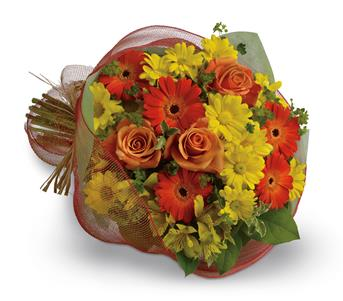 Description: Say thank you with a cheerful bouquet of bright orange gerberas and roses paired with alstroemeria and daisies in shades of yellow.