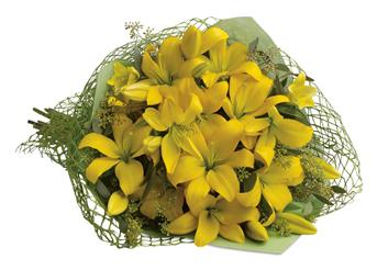 Description: This glorious gathering of golden lilies is guaranteed to turn anyones day into a sunny one!