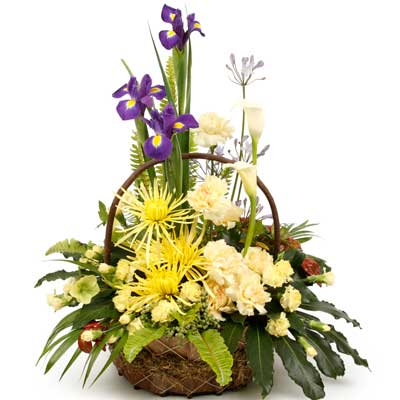 Description: This vibrant basket arrangement is bursting with variety.