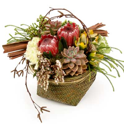 Description: This arrangement brings a taste of the outdoors inside.