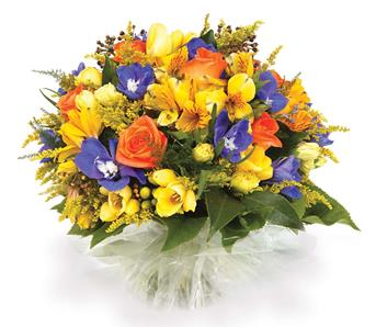 Description: Brighten someones day with this colourful posy-style bouquet of freesias, solidaster, alstroemeria and roses.