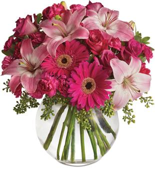 Description: Youthful. Graceful. Beautiful. Whether you want this gorgeous pink vase arrangement to say Happy Anniversary or Happy Any Day, you can be sure the day it arrives will be brighter for anyone lucky enough to receive it.