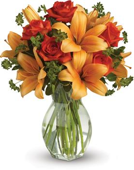 Description: Spark someones attention by sending this absolutely radiant vase arrangement. Full of flowers and fiery beauty,it makes a beautiful gift for any occasion.