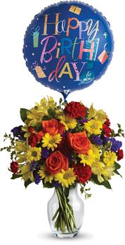 Description: Make birthday spirits soar by sending this fabulously fun vase arrangement and balloon. Bright primary colours make it perfect for guys and gals.