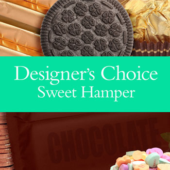 Code: D23. Name: Sweet Hamper. Description: Our designers choice of yummy sweet treats to make up a one of a kind Hamper. Price: NZD $124.90