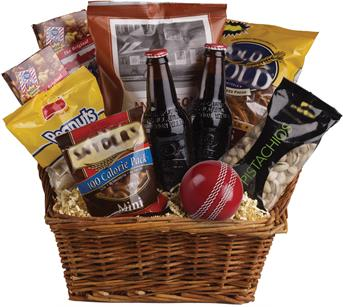 Description: Peanuts, pistachios, pretzels, beer and even a cricket ball are teamed up in this nibbles basket. The perfect gift for the male in your family!