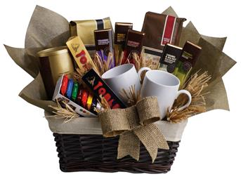 Description: When you want to send your thoughts in a grande way, send this basket filled with chocolate, tea and coffee. Nothing is grander.