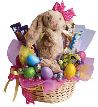 Corporate or personal gift baskets delivered online description be the easter bunny for someone special with this easter basket full of chocolates negle Image collections