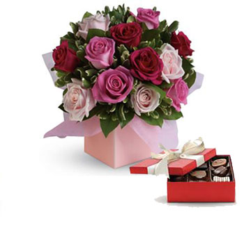 Description: Sing her a love song - with roses. This lush red and pink rose arrangement tells her just how much you care.