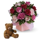 Blushing Roses with a cuddly Teddy Bear