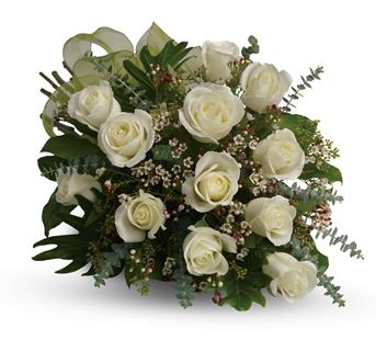 Description: This beautiful flower bouquet of dreamy white roses and graceful greens delivers innocence and elegance. Perfect for neighbours, corporate partners and events.