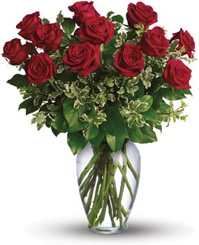 Description: Stunning in its simplicity, this elegant vase arrangement of deep red roses and rich green foliage makes quite an impression.
