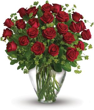 Description: When it comes to delivering romance in a big way, two dozen gorgeous red roses hand arranged in a glass vase,are a brilliant choice.