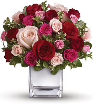 Description: Their heart will break into song when this romantic cube of ravishing roses arrive! A symphony of size and shade, this red and pink present will hold their heart forever.