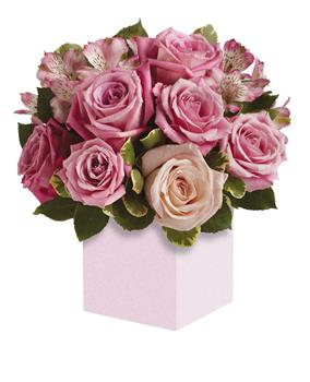 Description: Exquisite rose box arrangement featuring soft, romantic shades of pink. A versatile choice for an anniversary or anytime you want to send your very best.