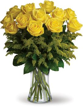 Description: What a bright idea! Send a summery treat to someone special with this cheerful bouquet of one dozen yellow roses in complementing vase.