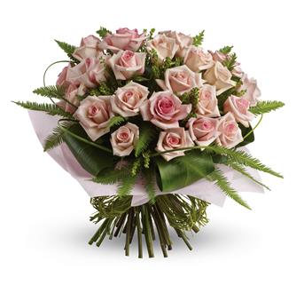 Description: What a beautiful bunch! Punch up the romance with this lush,lovely bouquet of whisper-pink roses and delicate greenery.