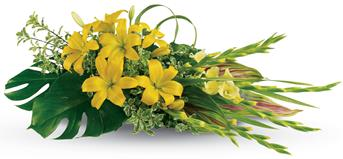 Description: Send your warmest wishes and celebrate a bright life with this sunny spray of lilies and gladiolus.
