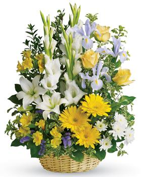 Description: Take a walk through the garden of memories with this lush basket of yellow, white and blue blooms. It is a joyful expression of sympathy sure to be appreciated.