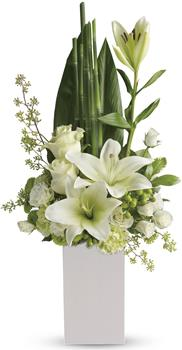 Description: Your sincere wishes for peace and harmony resonate beautifully in this zen-like arrangement of white blooms and sculptural greens.
