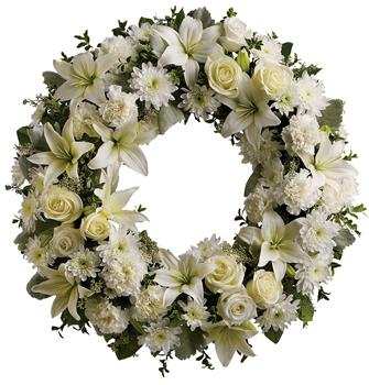 Description: A ring of fragrant, bright white blossoms will create a serene display at any service. This classic wreath is a thoughtful expression of sympathy and admiration.