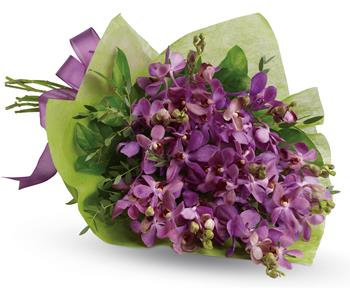 Description: This eye-catching bouquet of lavender orchids is an eloquent expression of your affection.