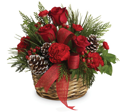 Description: Charming round basket filled with bright red roses, carnations and hypericum accented with pine cones and a shiny red ribbon.