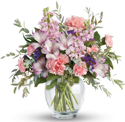 Description: Oh so pretty! When you want to whisper your wishes for a wonderful occasion, send this pale pastel bouquet of roses alstroemeria, carnations and stock.