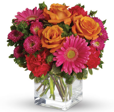 Description: Pop goes the pink! A gorgeously chic gift for any occasion, this perky pink and orange bouquet is pure fun, especially when it's hand-delivered!