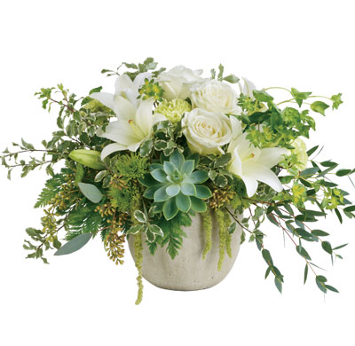 Description: Natural elegance to celebrate any occasion! Like a flourishing garden, this gorgeous bouquet of luxurious white blooms and fresh greens in a weather slate pot is a feast for the senses.